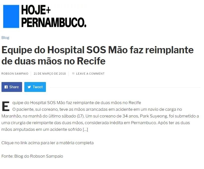 21.03.2018 - Hoje Pernambuco - Equipe do Hospital SOS Mão faz reimplante de duas mãos no Recife